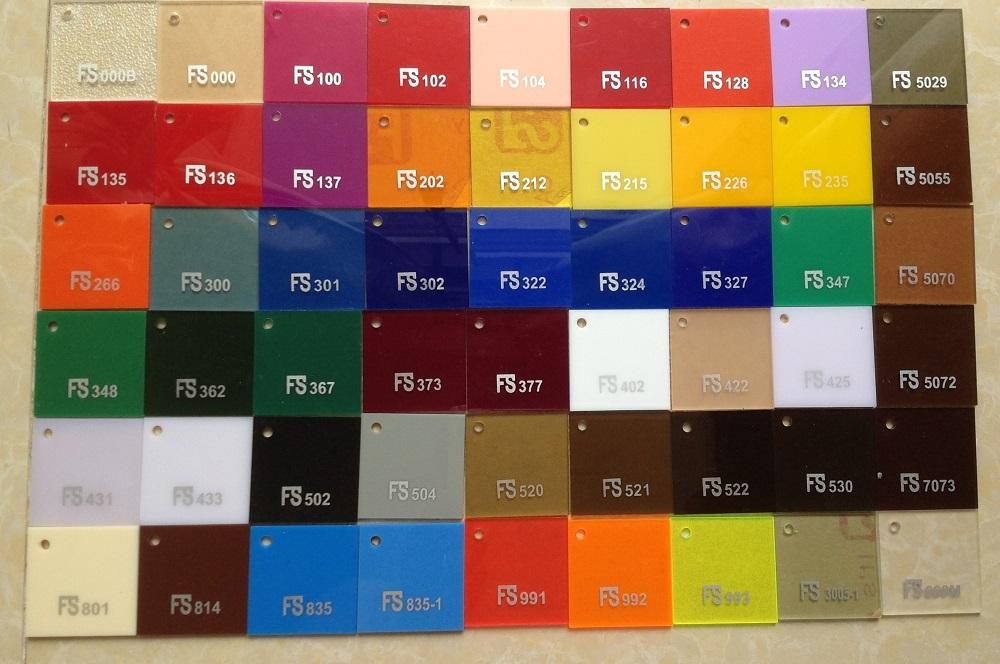 Bảng mã màu vật tư quảng cáo Alu và Mica